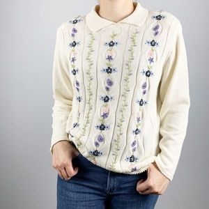 Alfred Dunner Embroidered Chenille Sweatshirt